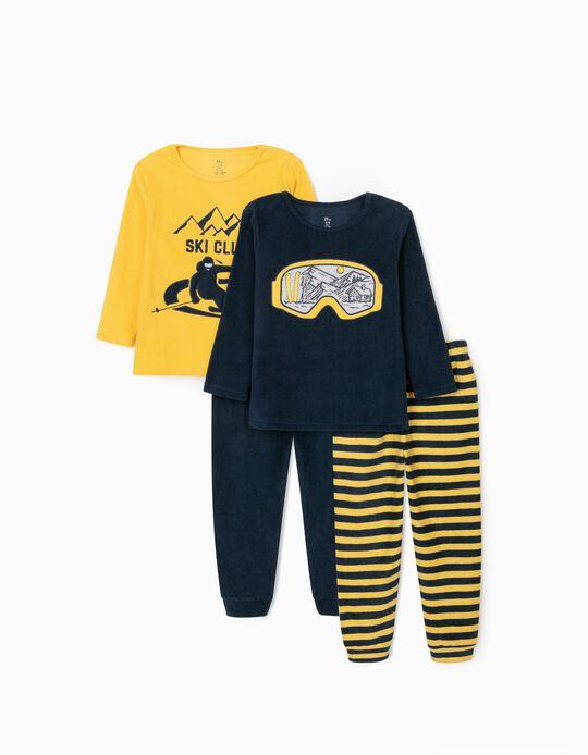 2 Polar Pyjamas for Boys 'Ski Club', Dark Blue/Yellow