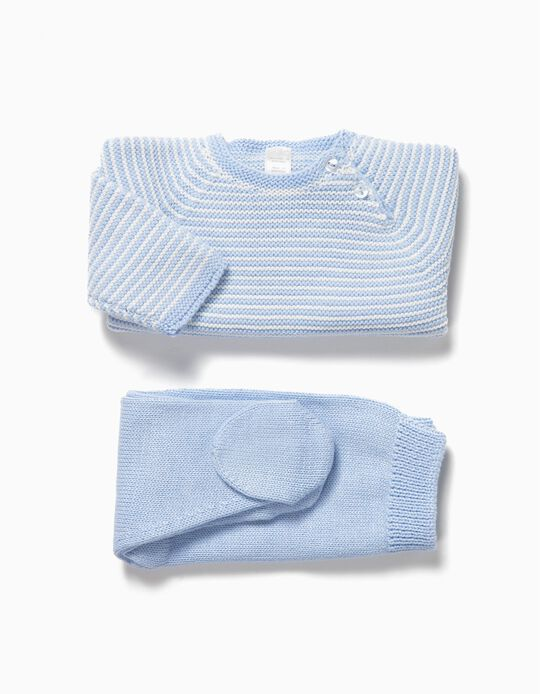 Conjunto de Malha sem Costuras para Recém-nascido, Azul