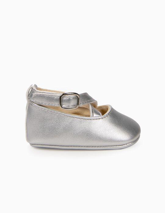 Sapatos para Recém-Nascida com Tiras Cruzadas, Prateado
