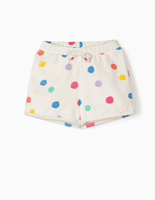 Short para Bebé Niña con Lunares de Colores, Blanco