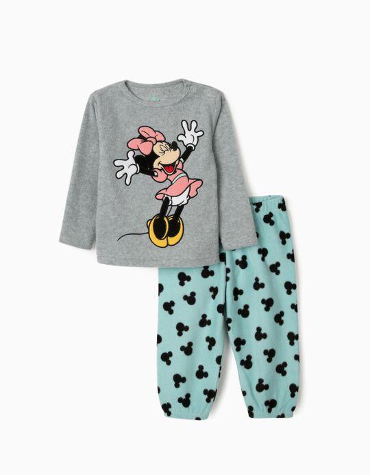 Pijama Polar para Bebé Menina 'Minnie', Cinza/Azul