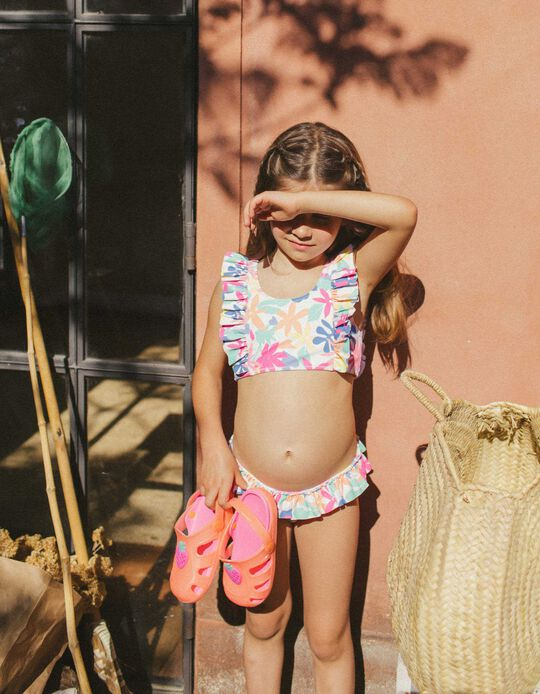 Bikini protection UV 80 fille 'Flowers', blanc