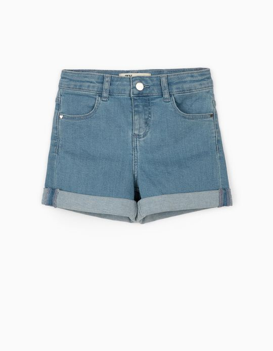 Denim Shorts for Girls 'Stripes', Light Blue
