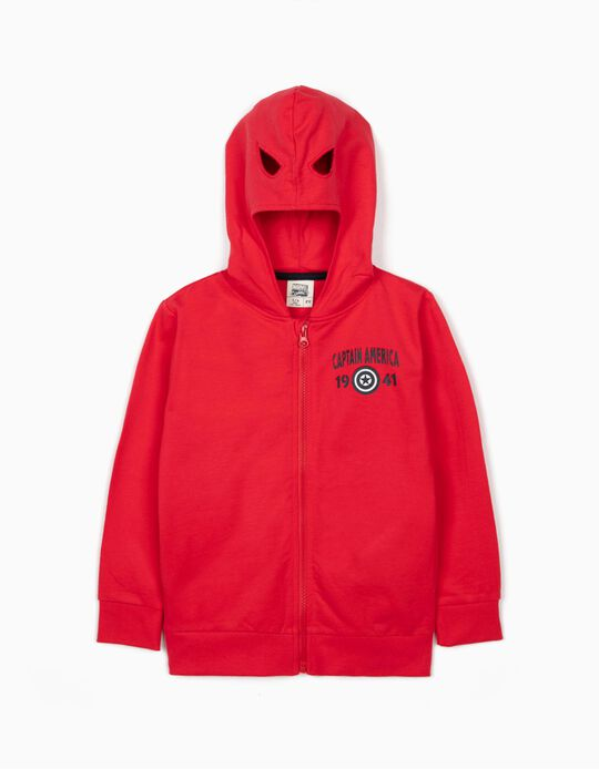 Chaqueta con Capucha Máscara para Niño 'Capitán América', Rojo