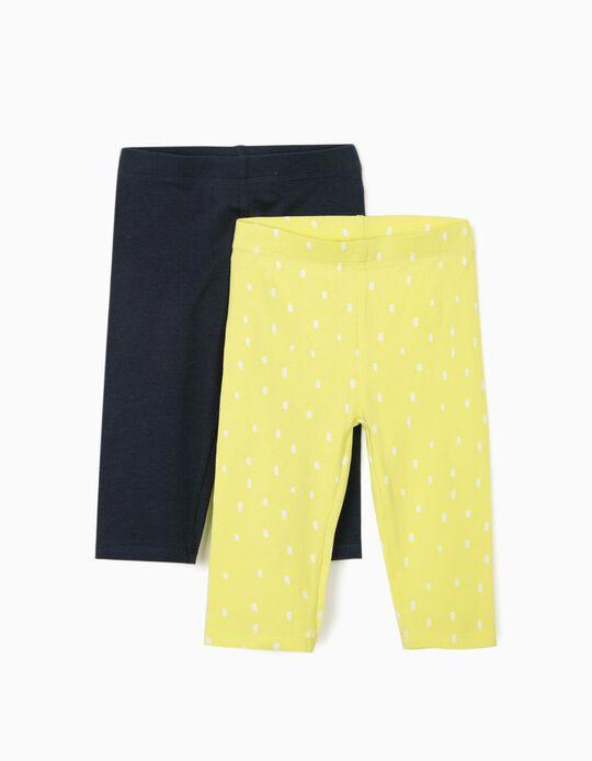 2 Capri Leggings for Girls 'Dots', Lime Yellow/Dark Blue