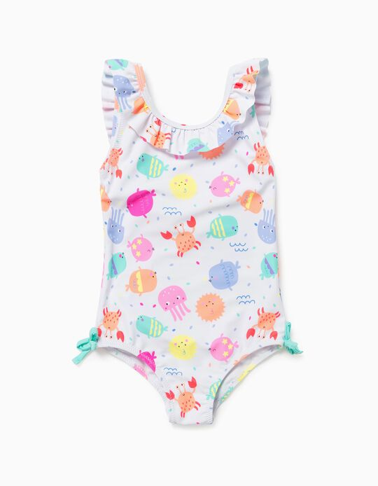 Swimsuit with UV 60 Protection for Baby Girls, 'Sea', White
