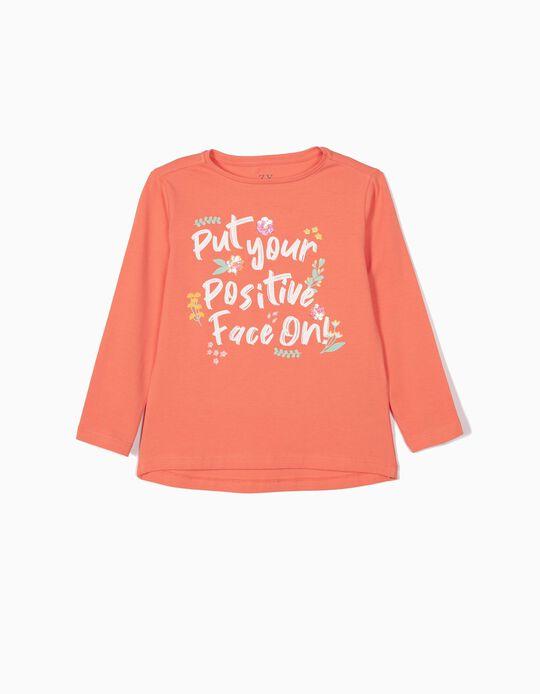 T-shirt de Manga Comprida para Menina 'Positive Face', Laranja
