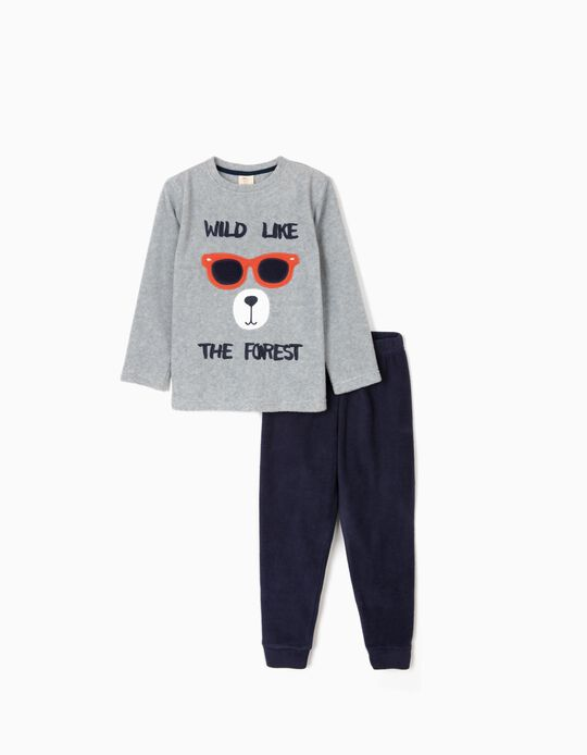 Pijama Polar para Menino 'Wild', Cinza/Azul Escuro