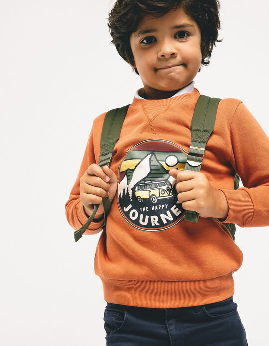 Sweatshirt para Menino 'The Happy Journey', Laranja Escuro