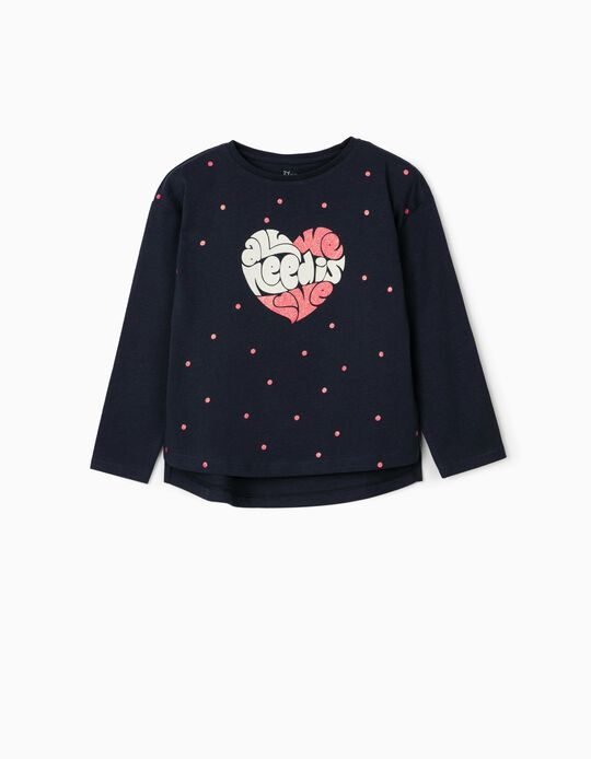 T-shirt Manga Comprida para Menina 'Love', Azul Escuro