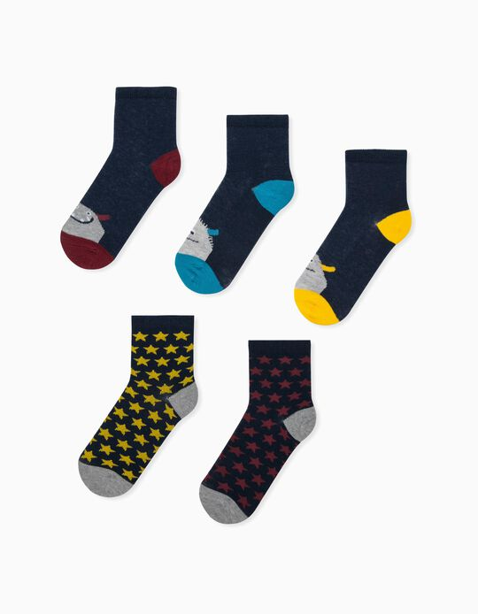 5 Pairs of Socks for Boys, 'Monsters & Stars', Multicoloured