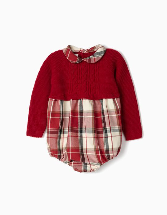 Combined Romper for Newborn Girls 'B&S', Red/Chequered