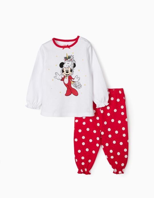 Pijama para Bebé  Menina 'Christmas Minnie', Branco/Vermelho