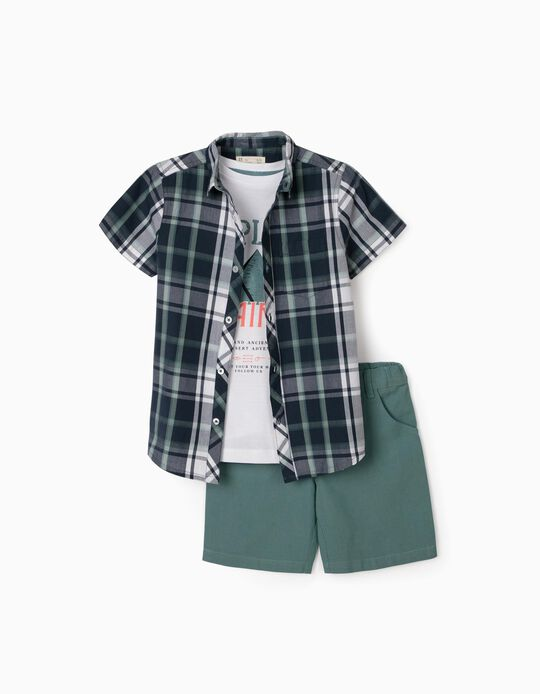 3-Piece Outfit for Boys, Green/White/Plaid