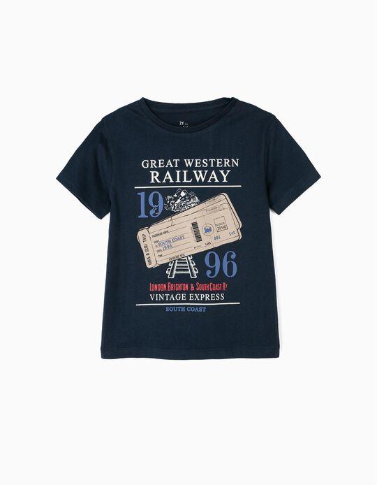 Camiseta para Niño 'Vintage Train', Azul Oscuro