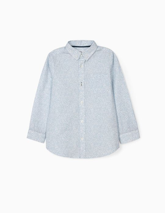 Floral Shirt for Boys, Light Blue