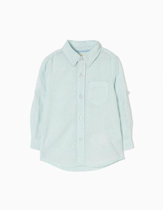 Camisa de Linho Riscas Verde Água