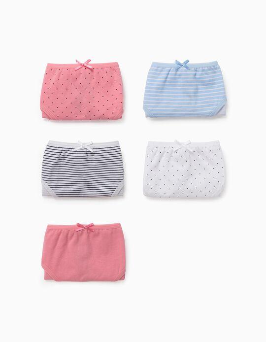 5 Braguitas para Niña 'Dots & Stripes', Multicolor