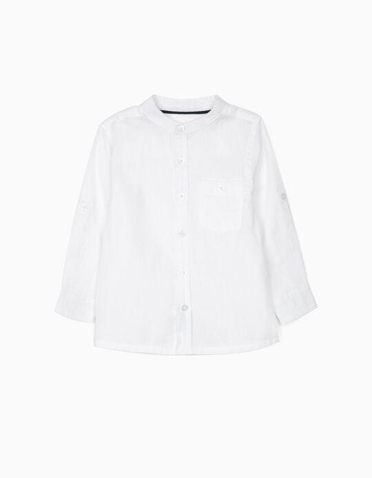 Camisa Cuello Mao para Bebé Niño, Blanca