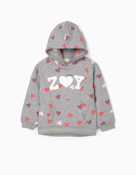 Sweatshirt for Girls 'Love', Grey