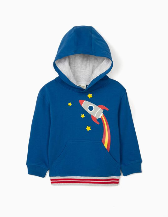 Hooded Sweatshirt for Baby Boys, 'Rocket', Blue