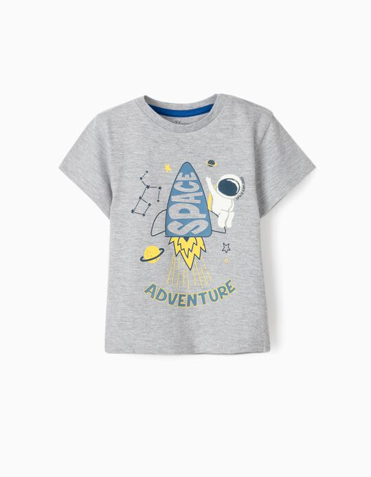 T-shirt bébé garçon 'Space Adventure', gris