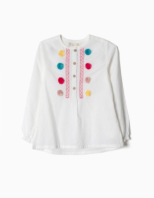 Blusa popeline com pompons