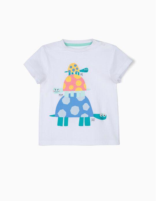 Camiseta para Bebé Niño 'Turtle Family', Blanca