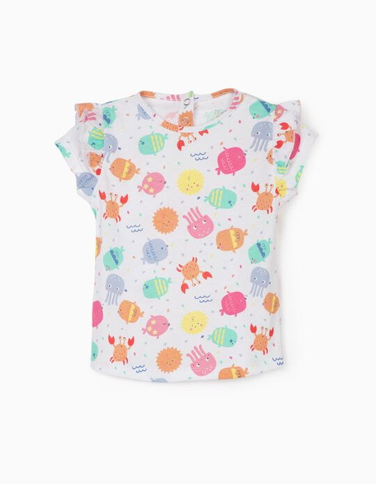 T-shirt bébé fille 'Sea Animals', blanc