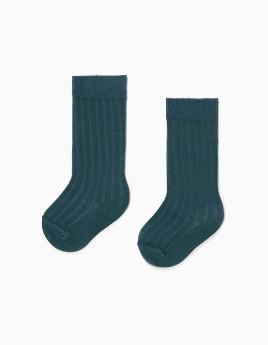 Rib Knit Knee High Socks for Baby Girls, Dark Teal