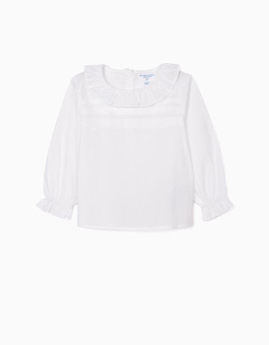 Blusa com Folhos para Bebé Menina 'B & S', Branco