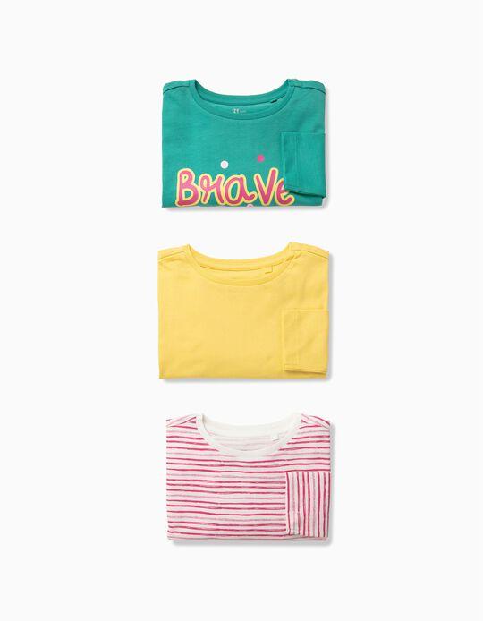 3 T-shirts Manga Comprida para Menina 'Brave', Multicolor