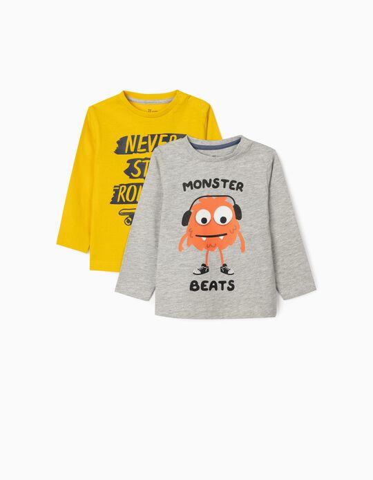 2 T-shirts Manga Comprida para Bebé Menino 'Rolling', Cinza/Amarelo
