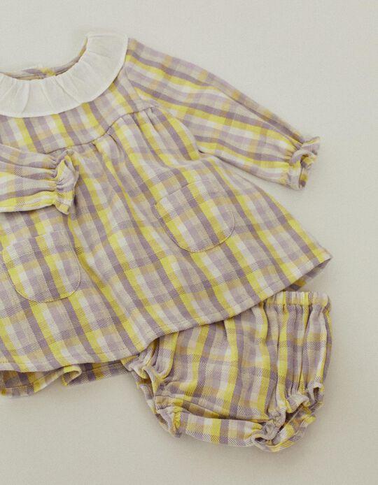 Checkered Dress + Shorts for Baby Girls, Purple/Yellow