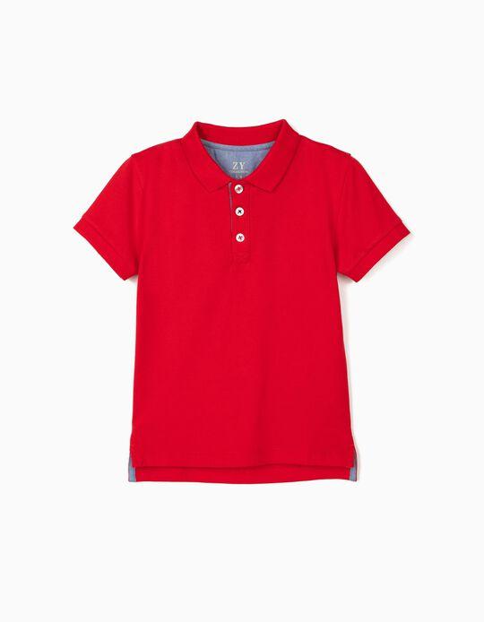 Piqué Knit Polo Shirt for Boys, Red