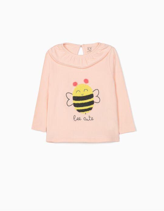 T-shirt Manga Comprida para Bebé Menina 'Bee Cute', Rosa