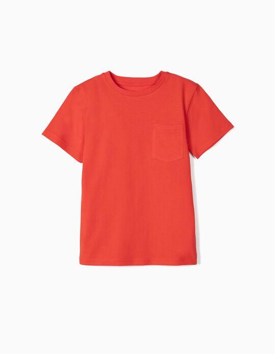 Camiseta con Bolsillo para Niño de Algodón Orgánico, Rojo