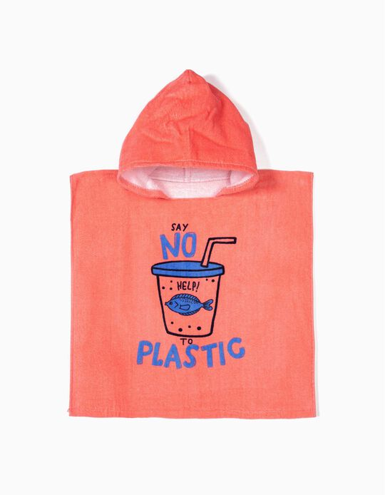 Poncho de Praia para Bebé Menina 'Say No To Plastic', Rosa