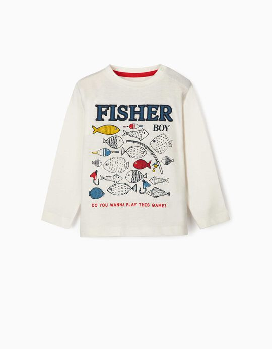 Long Sleeve Top for Baby Boys, 'Fisher Boy', White