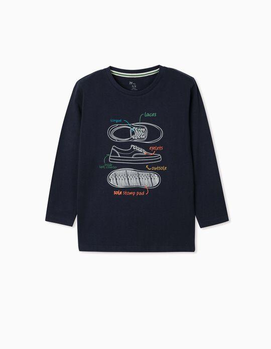 T-shirt manches longues garçon 'Shoes', bleu foncé
