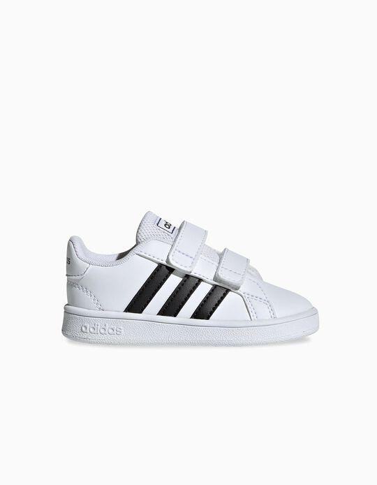 Baskets bébé 'Adidas Grand Court', blanc/noir