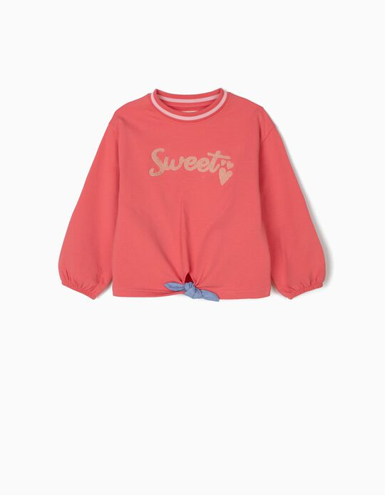 Sweatshirt para Menina Sweet com Nó Frontal, Rosa