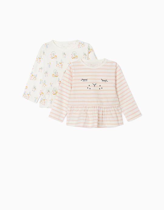 2 Tops for Newborn Baby Girls, 'Cute Bunny', White/Pink