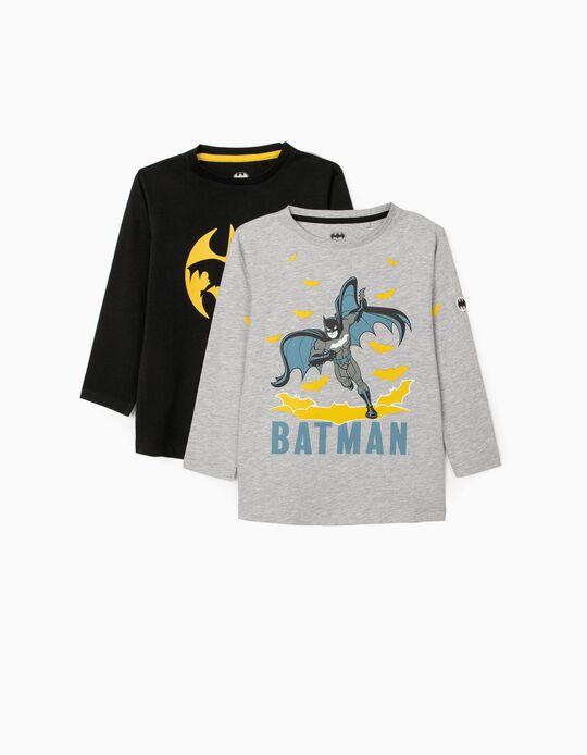 2 Long Sleeve T-Shirts for Boys 'Batman', Grey/Black