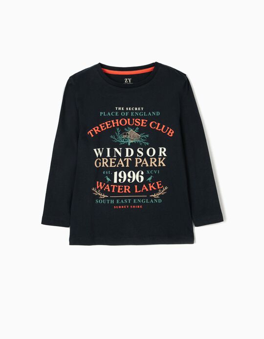 Long Sleeve Top for Boys, 'Treehouse', Dark Blue