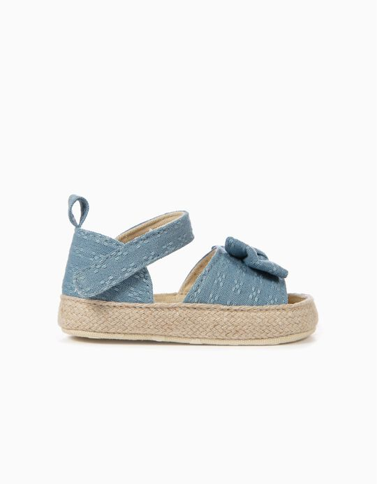 Sandals with Bow for Newborn Girls, Blue