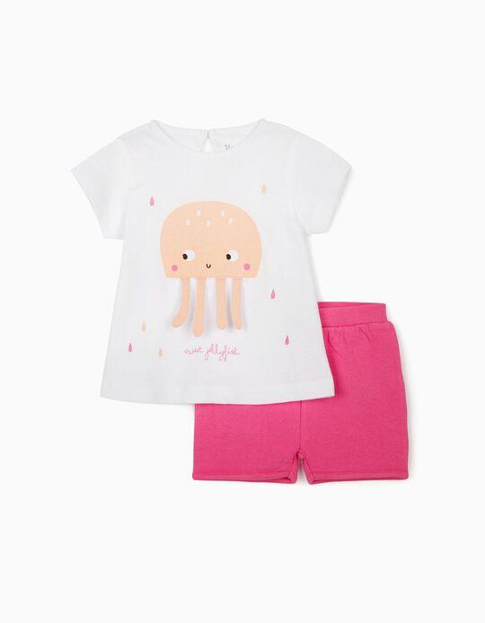 T-shirt et short bébé fille, blanc/rose