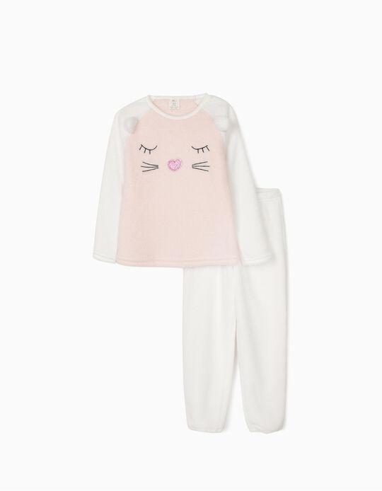 Pijama Coralina para Menina 'Cute Cat', Branco/Rosa