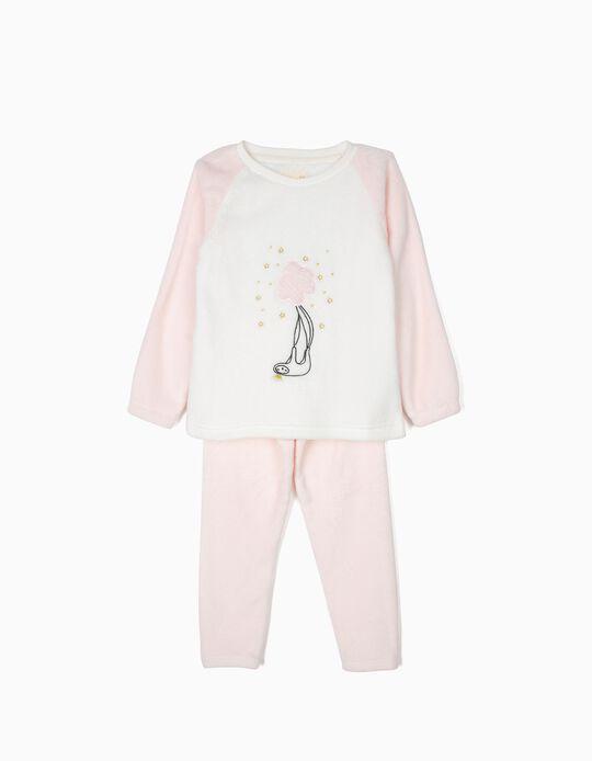 Pijama Polar para Niña 'Queen Sloth', Rosa y Blanco