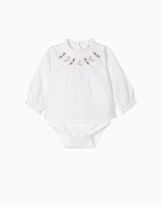 Blouse Bodysuit with Embroideries for Newborn Baby Girls, White